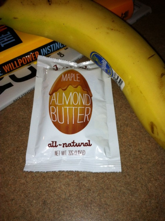 Banana and Justin's Maple Almond Butter. Sweet and simple.