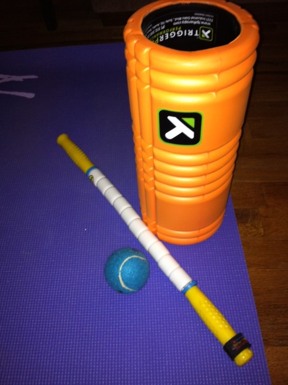 Mobility rocks! My kit: The Grid foam roller, The Stick, and a firm ball (from PetSmart).